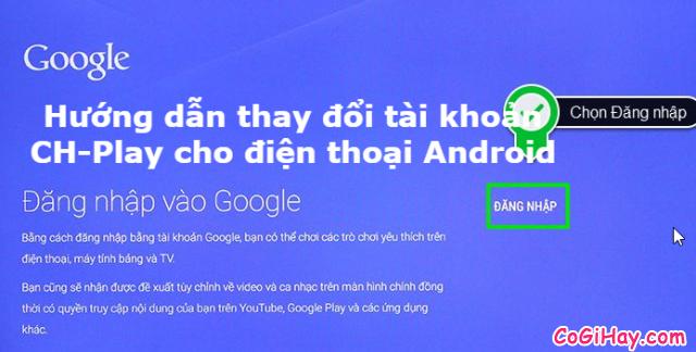 Thay đổi tài khoản Google trên Play Store của điện thoại Android