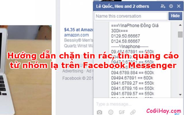 Hướng dẫn loại bỏ tin nhắn quảng cáo từ Group Facebook