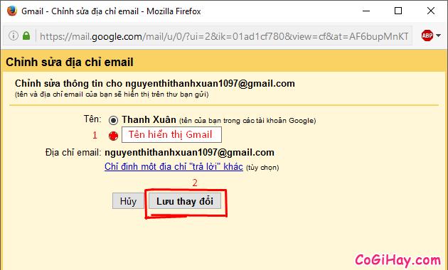 Hướng dẫn thay đổi tên hiển thị cho tài khoản Gmail, EMail + Hình 8