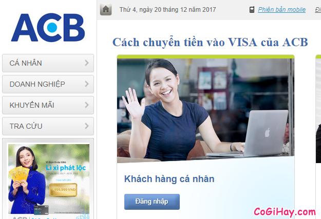 Chuyển tiền từ tài khoản ACB thường vào thẻ VISA ngân hàng ACB
