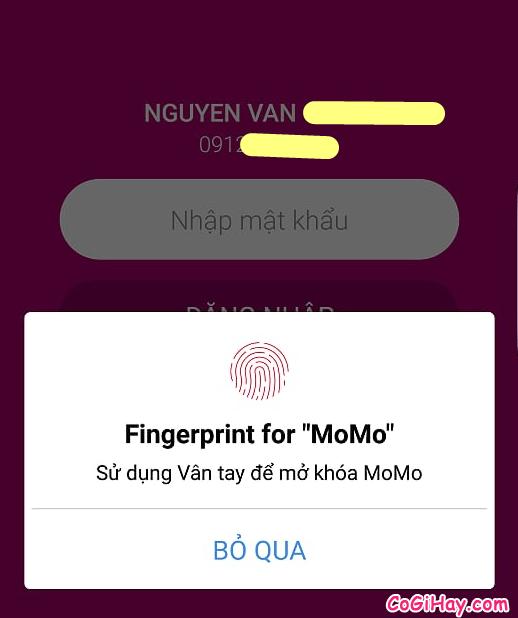 đăng nhập vào ví MoMo