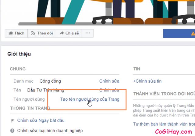vào phần tạo tên người dùng của Trang