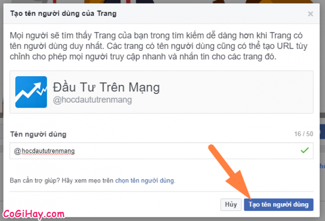 chọn tên người dùng fanpage facebook