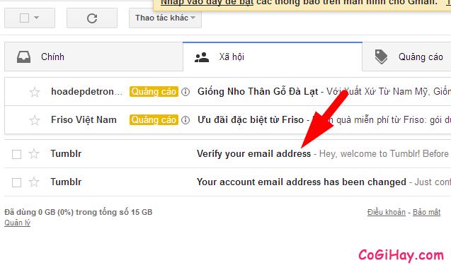kiểm tra email xác thực