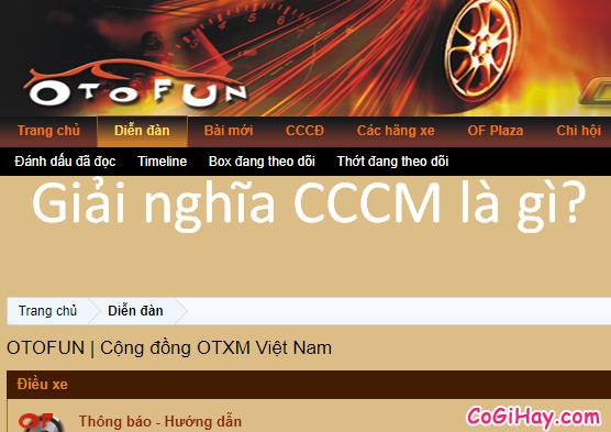Cccm là gì? ý nghĩa của từ CCCM của lái xe