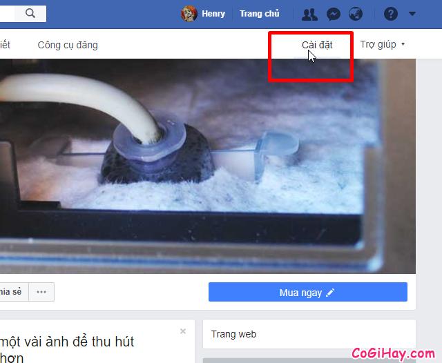 vào phần cài đặt Fanpage Facebook