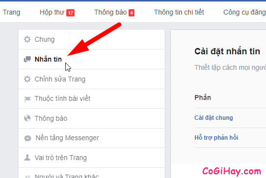 vào phần tin nhắn trong cài đặt Fanpage Facebook
