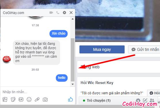 tin nhắn trả lời tự động tức thì trên fanpage facebook