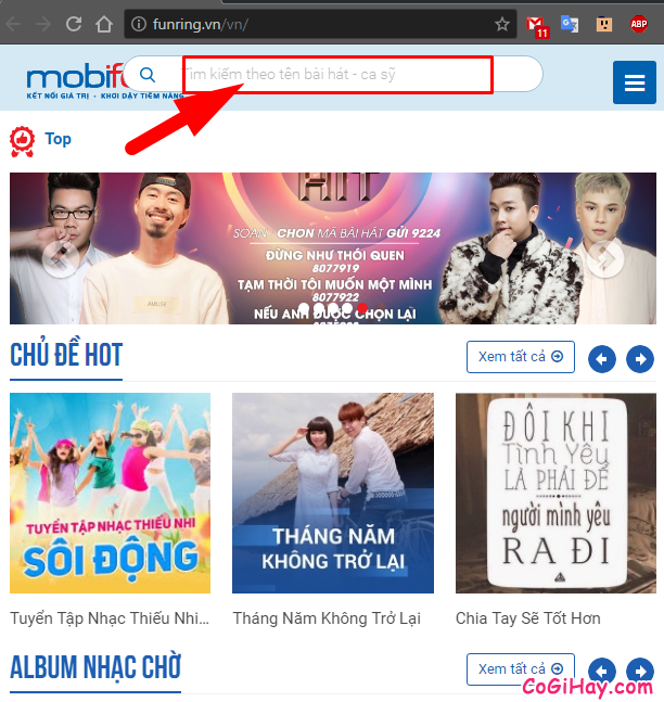 trang tìm nhạc chờ mobifone