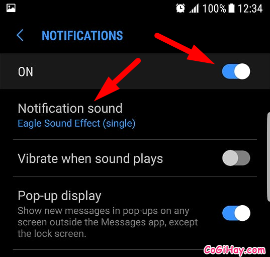 chọn vào notification sound