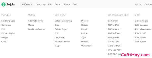 các công cụ chỉnh sửa PDF của sejda.com