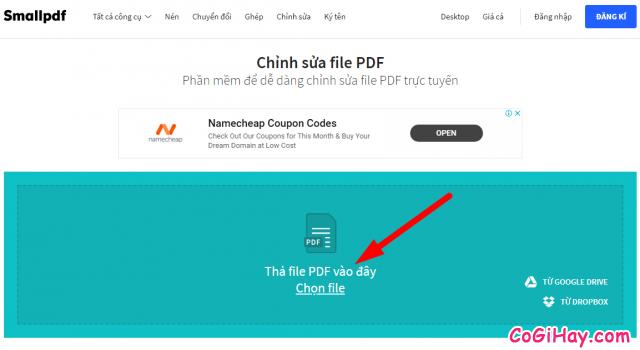 chọn file để chỉnh sửa PDF