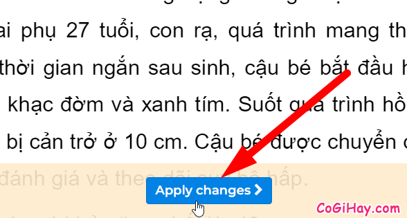nhấn nút apply changes