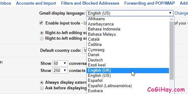 chuyển ngôn ngữ gmail sang English UK