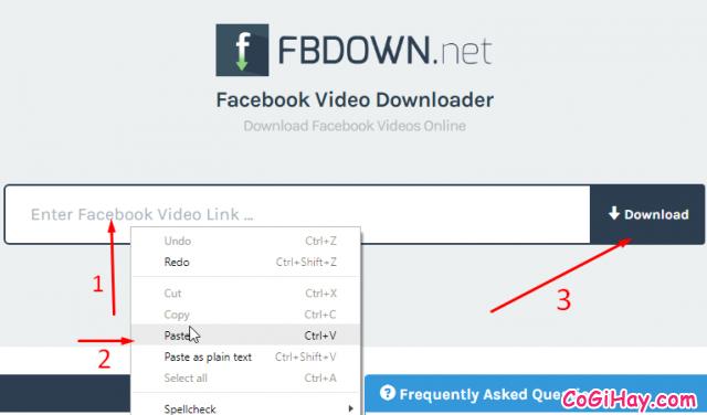 giao diện công cụ tải video facebook