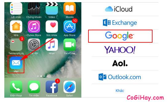 mở ứng dụng mail trên iphone