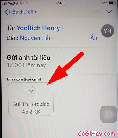mở word, excel trên ứng dụng mail