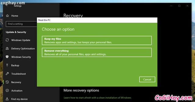 Bốn cách làm mới lại hệ điều hành Windows 10 + Hình 6