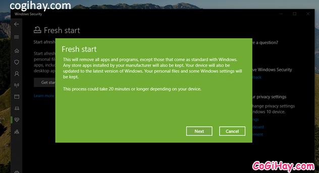 Bốn cách làm mới lại hệ điều hành Windows 10 + Hình 11