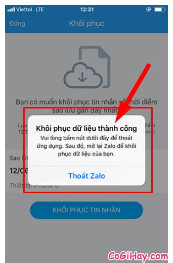 Hướng dẫn khôi phục lại tin nhắn đã bị xóa trên Zalo + Hình 13