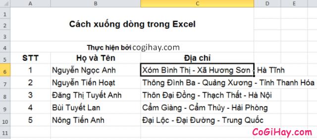 Cách Xuống dòng - Ngắt dòng trong Microsoft Excel + Hình 2