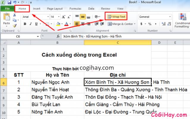 Cách Xuống dòng - Ngắt dòng trong Microsoft Excel + Hình 3
