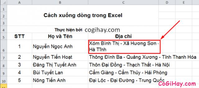 Cách Xuống dòng - Ngắt dòng trong Microsoft Excel + Hình 4