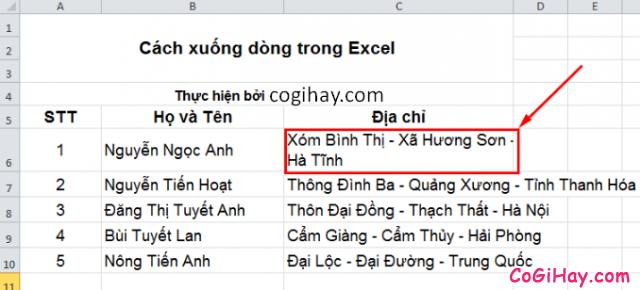 Cách Xuống dòng - Ngắt dòng trong Microsoft Excel + Hình 6