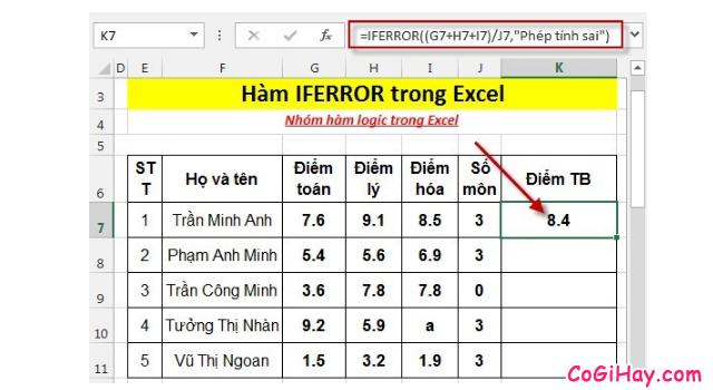 Thông tin về Hàm IFERROR - Hàm kiểm tra lỗi công thức trong Excel + Hình 2