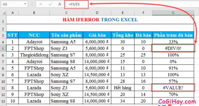 Thông tin về Hàm IFERROR - Hàm kiểm tra lỗi công thức trong Excel + Hình 7