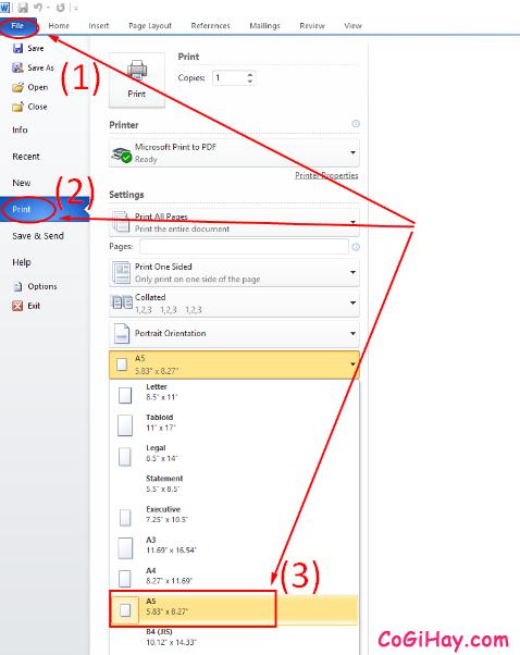 Hướng dẫn bạn cách in khổ giấy A5 trong Microsoft Excel, Word + Hình 2