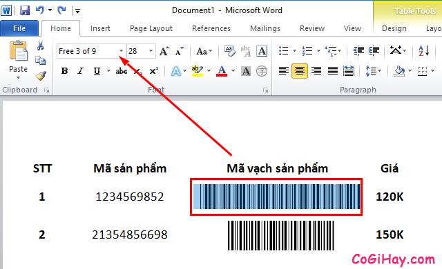 Hướng dẫn tạo mã vạch trong Microsoft Word, Excel + Hình 11