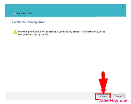 Hướng dẫn tạo ổ cứng USB khôi phục Windows 10 + Hình 10