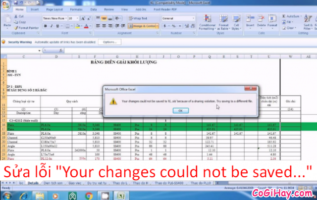 "Sửa lỗi ""Your changes could not be saved…"" trên Excel"