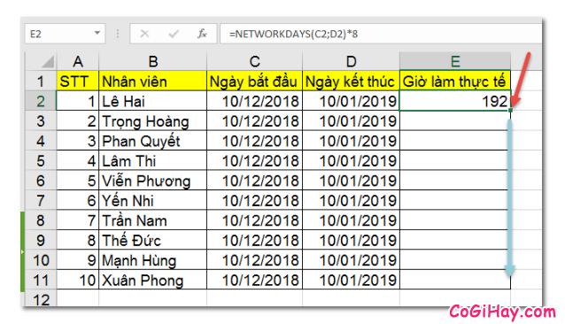 Dùng hàm NETWORKDAYS để tính tổng số giờ làm việc thực tế + Hình 5