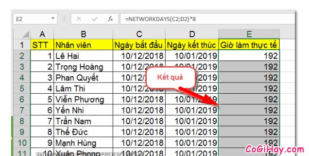 Dùng hàm NETWORKDAYS để tính tổng số giờ làm việc thực tế + Hình 6