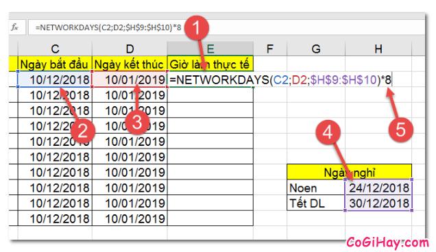 Dùng hàm NETWORKDAYS để tính tổng số giờ làm việc thực tế + Hình 7