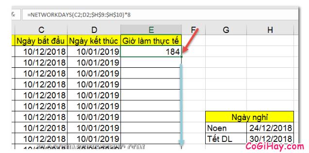 Dùng hàm NETWORKDAYS để tính tổng số giờ làm việc thực tế + Hình 9