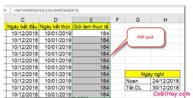 Dùng hàm NETWORKDAYS để tính tổng số giờ làm việc thực tế + Hình 10